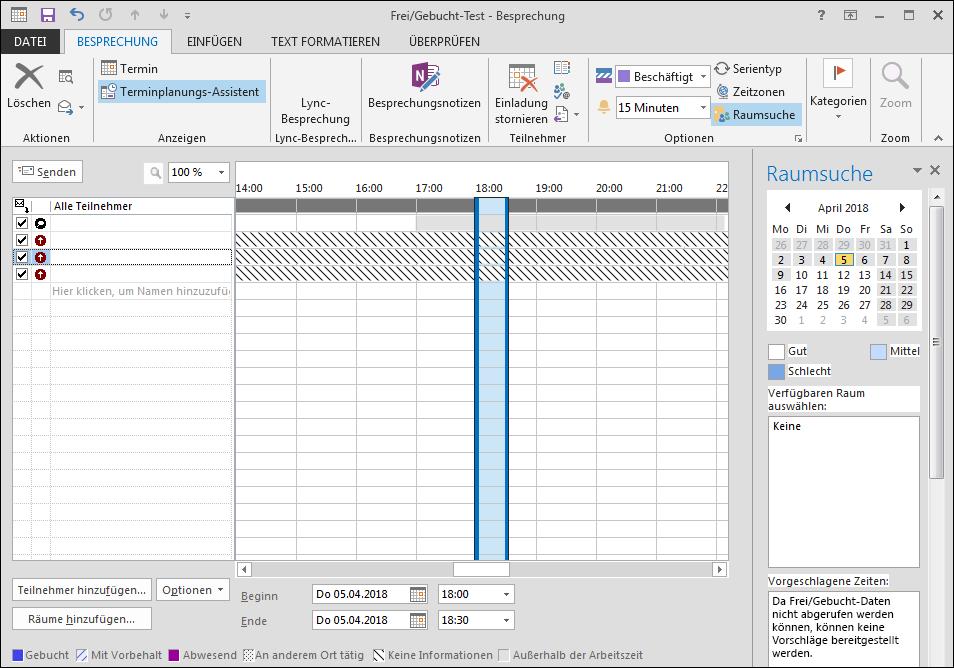 Im Terminplanungs-Assistenten werden in den Frei/Gebucht-Informationen gestrichelte Linien ... e729e1a7-f489-4a28-9bb6-80d600077a01.png