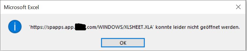 Excel: Eingabe einer Verlinkung/Verknüpfung - Folge beim Start/Öffnen: Fehlermeldung zu einer toten Fehlermeldung Excel 1.PNG