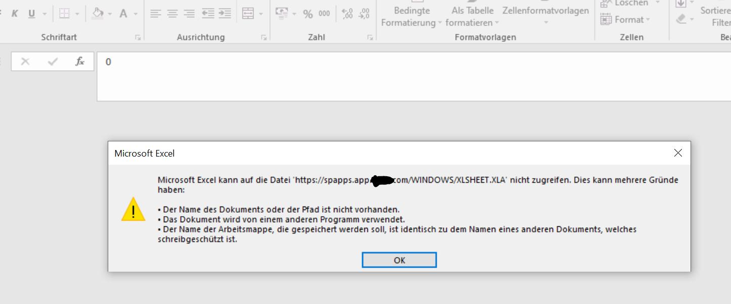 Excel: Eingabe einer Verlinkung/Verknüpfung - Folge beim Start/Öffnen: Fehlermeldung zu einer toten Fehlermeldung Excel 2.PNG
