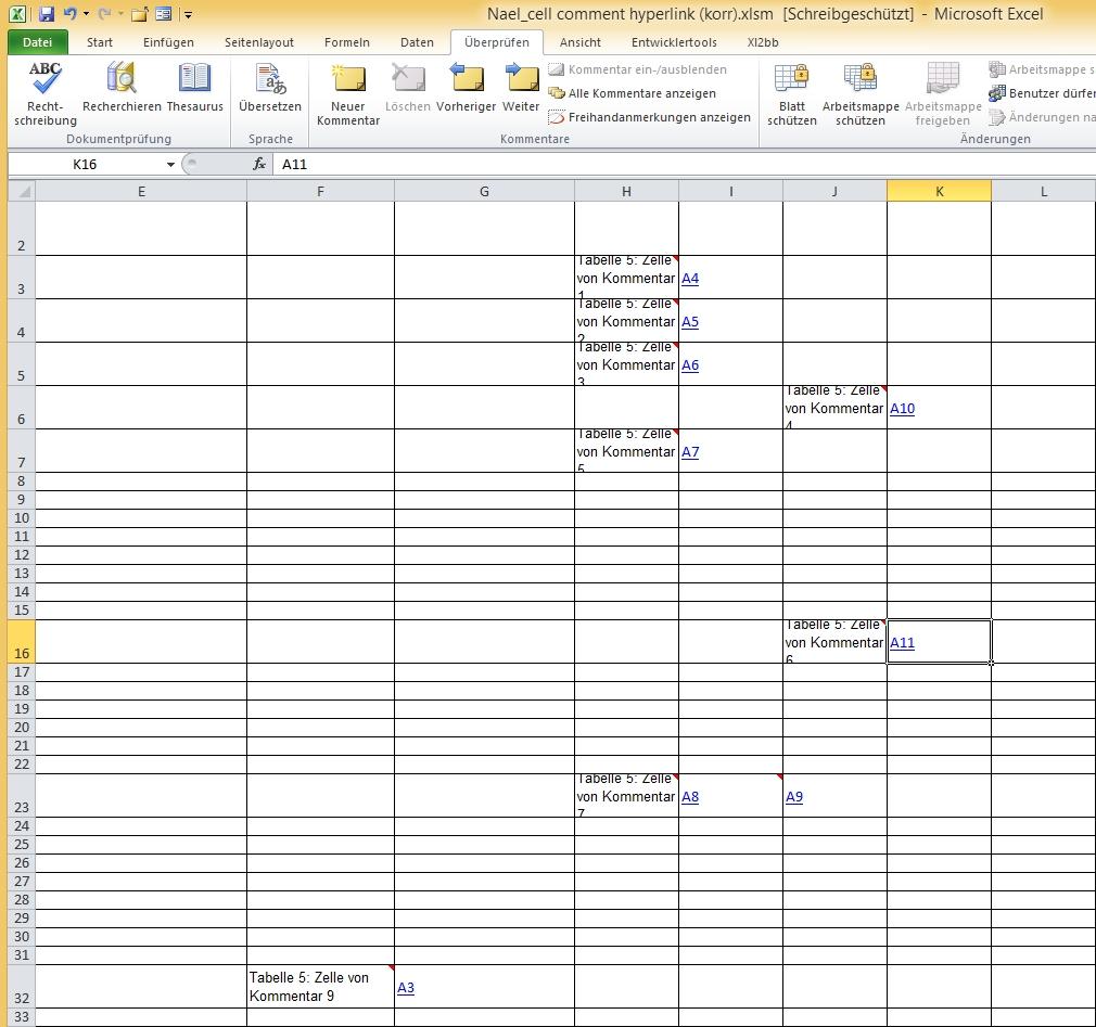 Kommentare in neue Kommentartabelle kopieren, Quelltabelle: Hyperlinks auf die Kommentartabelle Tabelle5 Ergebnisl.jpg