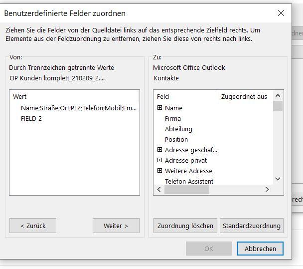 Benutzerdefinierte Felder lassen sich nicht zuordnen. Outlook 365 Unbenannt.JPG