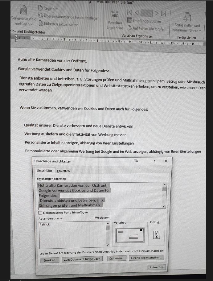 Anzeige Problem beim Umschlag drucken wxx.PNG